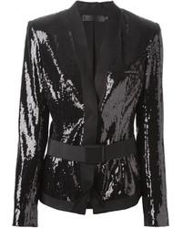 Donna Karan Belted Sequin Jacket