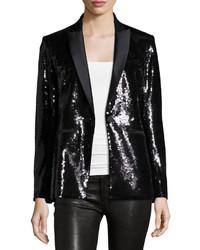 Sequin tuxedo blazer black medium 359790