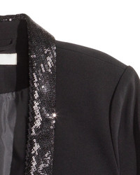 Ladies black sequin tuxedo jacket