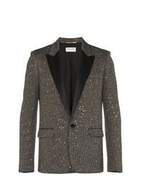 Saint Laurent Single Breasted Sequin Tweed Wool Blend Jacket