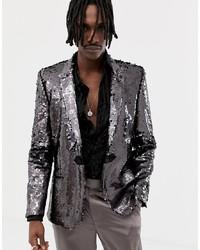 ASOS Edition Skinny Blazer In Black Mirror Sequins