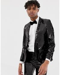 Twisted Tailor Super Skinny Sequin Suit Jacket In Black
