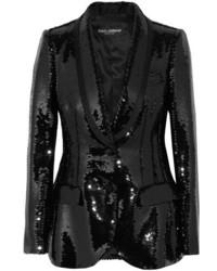 Dolce & Gabbana Sequined Satin Blazer Black