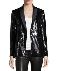 Veronica Beard Sequin Tuxedo Blazer Black