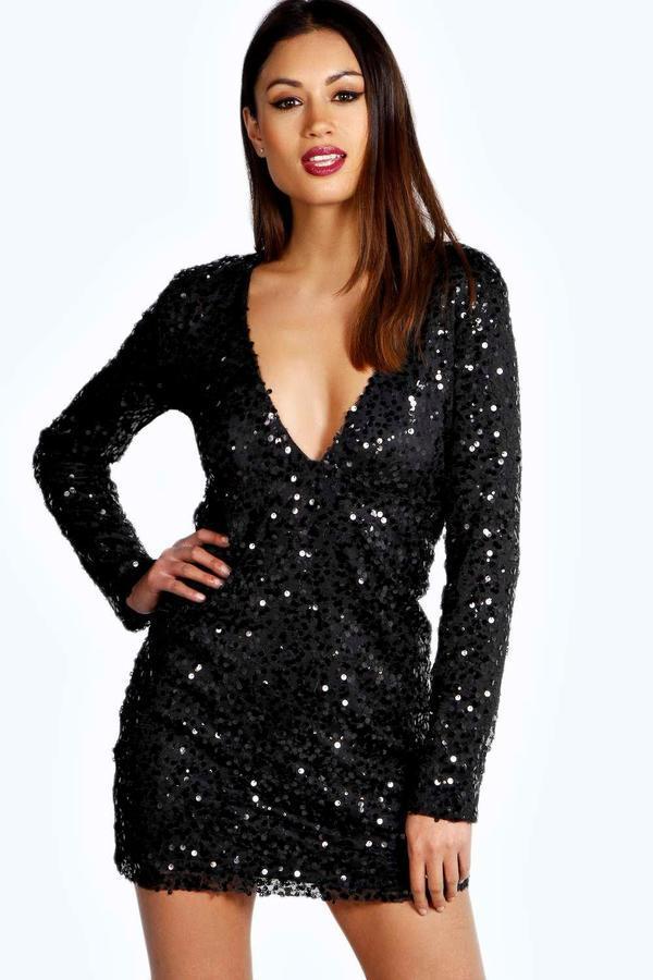 2c0ec0082b86 Boohoo Rose Deep Plunge Sequin Bodycon Dress, $70 | BooHoo ...