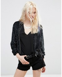 Asos Bomber Jacket In All Over Sequin