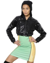 Quilted sequined cropped bomber jacket medium 1157733