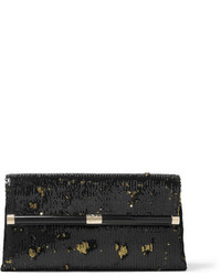 440 envelope sequined satin clutch black medium 962256