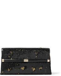 Diane von Furstenberg 440 Envelope Sequined Satin Clutch Black