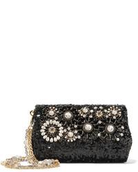 Dolce & Gabbana Embellished Sequined Leather Shoulder Bag Black