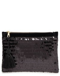 Eva sequin zip pouch black medium 1248979