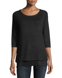 Cashmere collection sequin cashmere crewneck w pleated hem medium 4381019