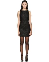 Saint Laurent Black Grid Sequin Dress