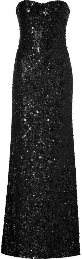 Jenny Packham Black Allover Sequined Strapless Gown Where To Buy