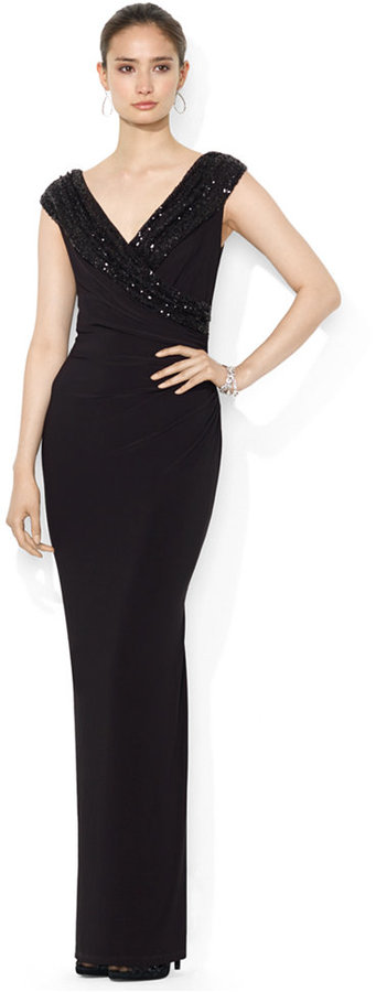 Black Sequin Evening Dresses Lauren Ralph Cap Sleeve Sequined Surplice Gown