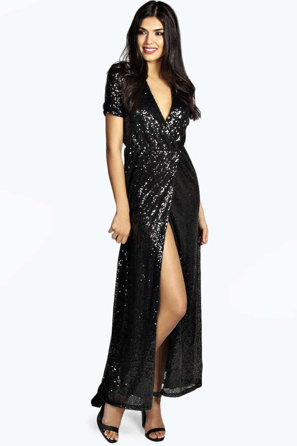 Boohoo Dixie Woven Wrap Front Sequin Maxi Dress Where To Buy How
