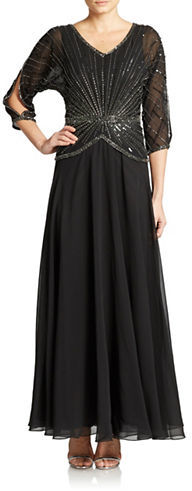 a0913bd950d6 J Kara Hand Beaded Sequined Gown, $279 | Lord & Taylor | Lookastic.com