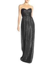 London sequin tulle strapless column gown medium 1039122