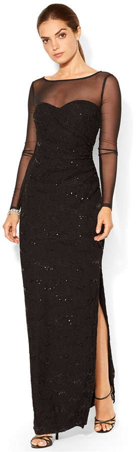 24714768ee12d ... Black Sequin Evening Dresses Lauren Ralph Lauren Long Sleeve Sequined  Illusion Gown ...