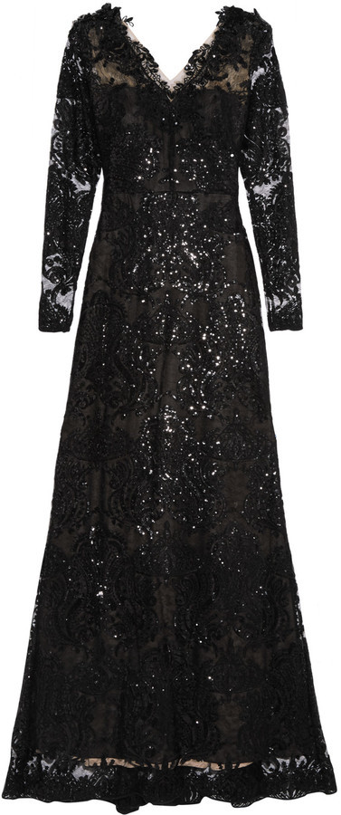 Marchesa Notte Sequin Embellished Embroidered Tulle Gown | Where to ...