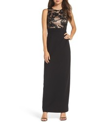 Vince Camuto Sequin Crepe Column Gown