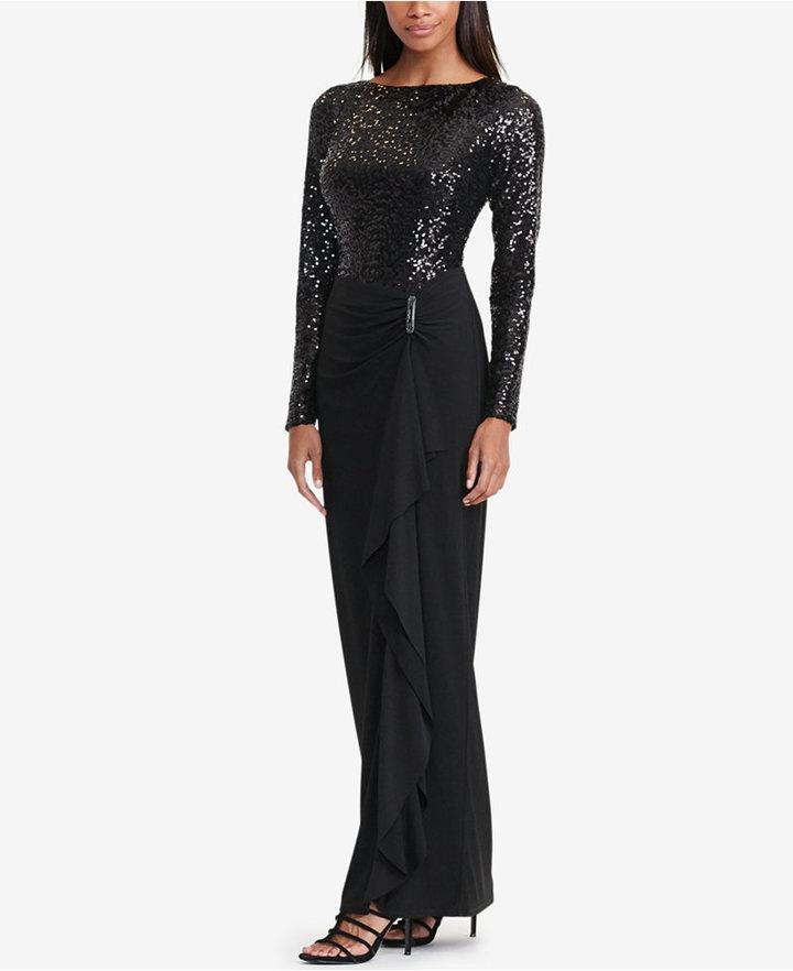 Lauren Ralph Lauren Sequined Jersey Gown | Where to buy & how to wear
