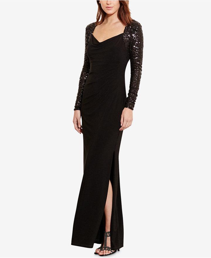Lauren Ralph Lauren Sequined Sleeve Jersey Gown | Where to buy & how ...