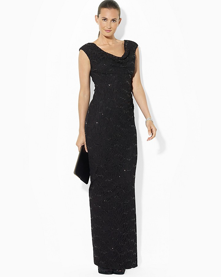 Lauren Ralph Lauren Stretch Sequin Lace Gown Cowlneck | Where to buy ...