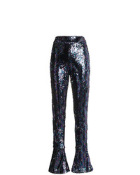 Halpern High Waist Sequin Flared Trousers