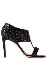 Black Sequin Heeled Sandals