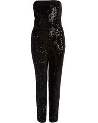 River Island Black Sequin Bandeau Jumpsuit