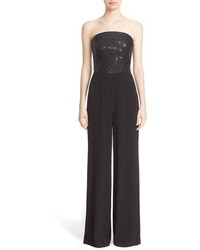 Collection sequin satin back crepe jumpsuit medium 1009089