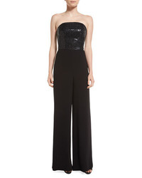 St. John Collection Strapless Sequined Wide Leg Jumpsuit Caviar