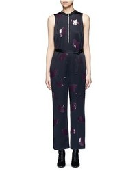 3.1 Phillip Lim Ginkgo Leaf Sequin Belted Satin Jumpsuit