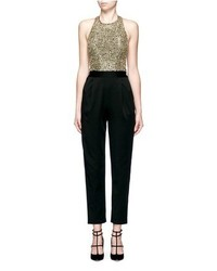 Alice + Olivia Jeri Sequin Embellished T Back Jumpsuit
