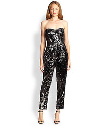 Milly Leather Trim Sequined Bustier Jumpsuit
