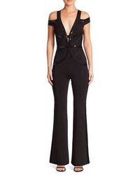 Herve Leger Sequin Embellished Cold Shoulder Jumpsuit