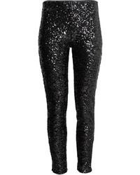 H&M Sequined Pants Black Ladies