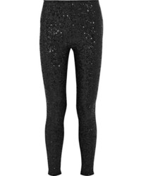 Saint Laurent Sequined Stretch Jersey Leggings Black