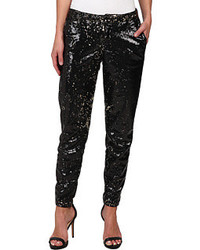 CJ by Cookie Johnson Prominent Ankle Trouser W Sequin Fabric In Blackbronze