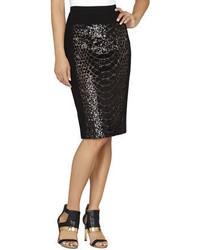 BCBGMAXAZRIA Aideen Snake Sequin Pencil Skirt