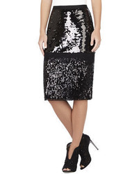 BCBGMAXAZRIA Cristal Mixed Sequined Pencil Skirt