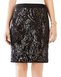 BCBGMAXAZRIA Paxton Mosaic Sequin Pencil Skirt
