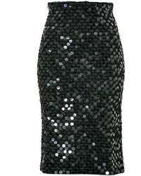 Cédric Charlier Sequined Wool Pencil Skirt