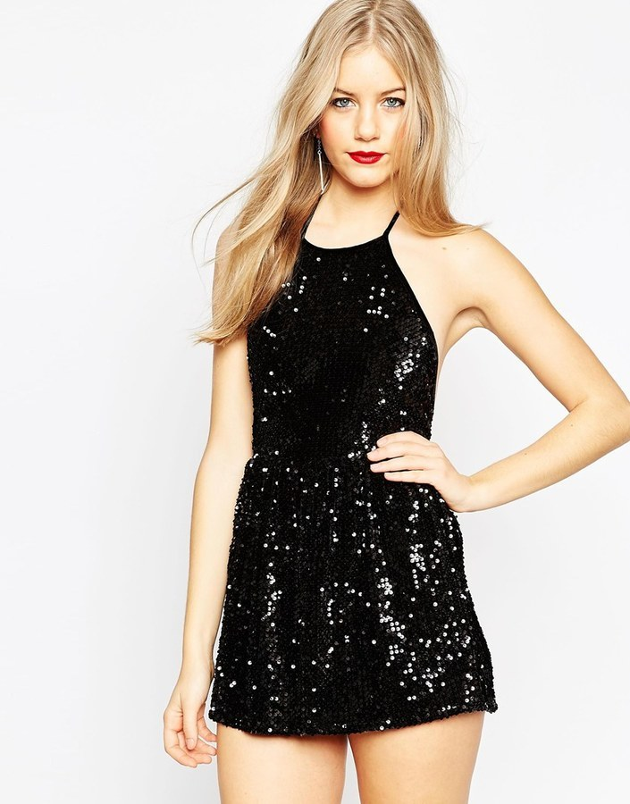 top-rated latest new york pretty cheap $60, Asos Collection Velvet Sequin Halter Romper