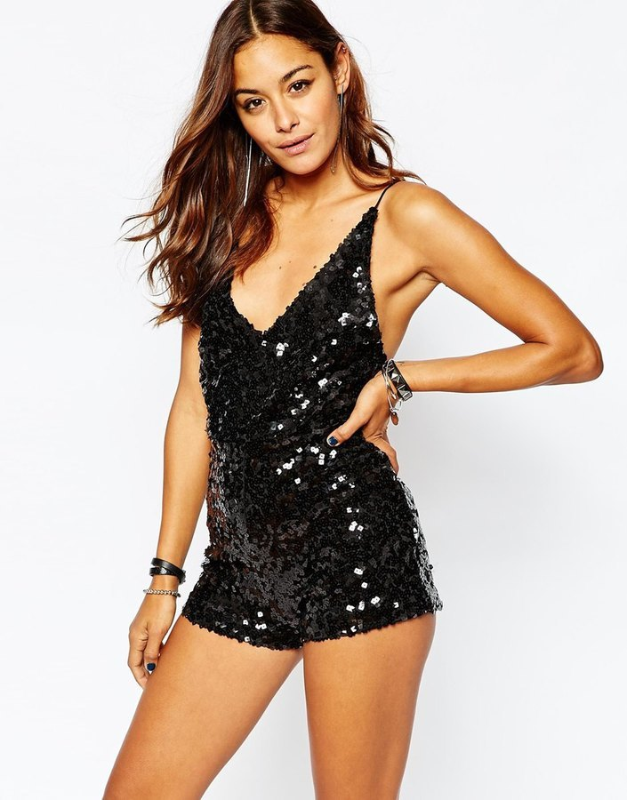 Motel Deep V Plunge Romper In Sequin   Where to buy   how to wear 4901f9ef5d