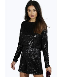 Boohoo Kate Cowl Back Sequin Playsuit