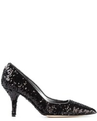 Black Sequin Pumps