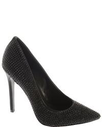 Nine West Glitterbig Black Satin Ornated Shoes