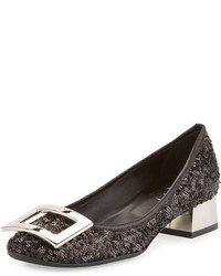 Roger Vivier Belle De Nuit Sequined Buckle Pump Black